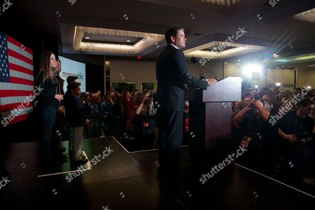 Marco Rubio, Amanda Rubio, Daniella Rubio, Anthony Rubio, Dominick Rubio, Jeanette Dousdebes Republican presidential candidate Sen. Marco Rubio, R-Fla., speaks during his primary night rally at the Radisson Hotel in Manchester, N.H., on . At left is his family, Amanda Rubio, 15, Daniella Rubio, 13, Anthony Rubio, 10, Dominick Rubio, 8, and wife Jeanette Dousdebes