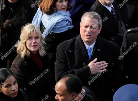 Stock Image of Al Gore, Tipper Gore Former Vice President Al Gore and his wife Tipper, listen to the national anthem at the conclusion of inaugural ceremonies on Capitol in Washington. Former Vice President Al Gore and his wife, Tipper, are separating after 40 years of marriage