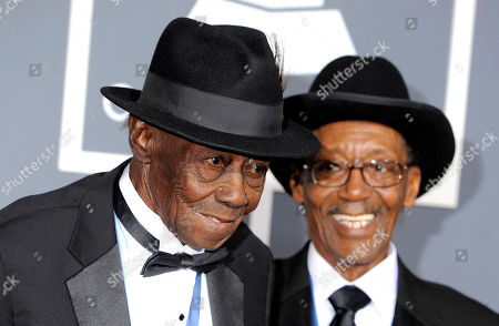 """Pinetop Perkins, Willie Smith Pinetop Perkins, left, and Willie """"Big Eyes"""" Smith arrive at the 53rd annual Grammy Awards, in Los Angeles"""