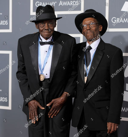 """Stock Picture of Pinetop Perkins, Willie Smith Pinetop Perkins, left, and Willie """"Big Eyes"""" Smith arrive at the 53rd annual Grammy Awards, in Los Angeles"""
