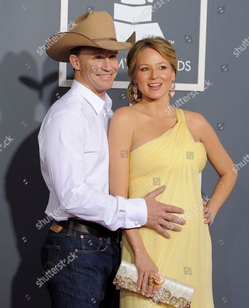 Ty Murray, Jewel Jewel, right, and her husband,Ty Murray, arrives at the 53rd annual Grammy Awards, in Los Angeles