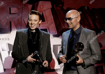 Eleanor Kate Jackson, Ben Langmaid Eleanor Kate Jackson, left, and Ben Langmaid of La Roux accept the award for best electronic/dance album during the pre-telecast at the 53rd annual Grammy Awards, in Los Angeles