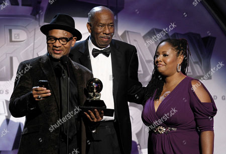 Stock Picture of Kirk Whalum, Lalah Hathaway Kirk Whalum, left, and Lalah Hathaway, right, accept the award for best gospel song during the pre-telecast at the 53rd annual Grammy Awards, in Los Angeles