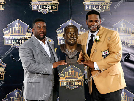Jerome Bettis, John Bettis III Former NFL player Jerome Bettis, right, poses with his bust and with presenter and brother, John Bettis III, during inductions at the Pro Football Hall of Fame, in Canton, Ohio