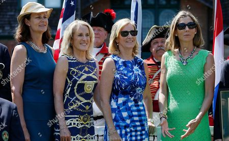 Pam Shriver, Tracy Austin, Chris Evert, Monica Seles Hall of famers, from left, Pam Shriver, Tracy Austin, Chris Evert and Monica Seles during the induction ceremony at the International Tennis Hall of Fame in Newport, R.I