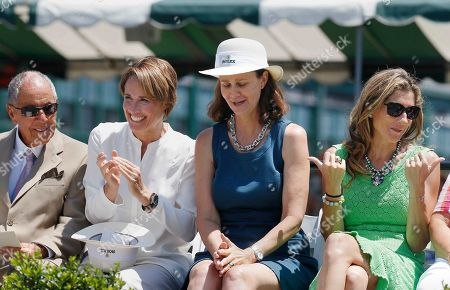 Nick Bollettieri, Mary Carillo, Pam Shriver, Monica Seles Sitting on the dais during the induction ceremony at the International Tennis Hall of Fame in Newport, R.I., from left, Nick Bollettieri, Mary Carillo, Pam Shriver and Monica Seles