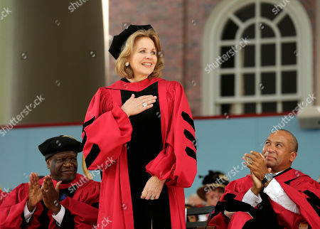 Denis Mukwege, Renee Fleming, Deval Patrick Soprano Renee Fleming, center, is applauded by Denis Mukwege, left, and former Massachusetts Gov. Deval Patrick, right, as she is introduced before receiving an honorary Doctor of Music degree during Harvard University commencement exercises, in Cambridge, Mass. Mukwege, of the Democratic Republic of the Congo, left, received an honorary Degree of Science, while Patrick received an honorary Doctor of Laws degree