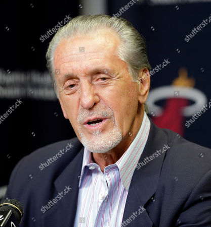 Stock Image of Pat Riley Miami Heat president Pat Riley talks to reporters during a news conference, in Miami. Goran Dragic has signed his five-year deal with the Miami Heat