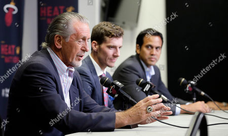 Pat Riley, Goran Dragic, Erik Spoelstra Miami Heat president Pat Riley, left, talks to reporters as Goran Dragic, center, and head coach Erik Spoelstra, right, look on during a news conference, in Miami. Goran Dragic has signed his five-year deal with the Miami Heat