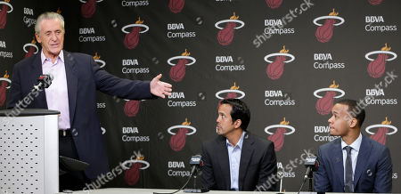 Pat Riley, Erik Spoelstra, Shabazz Napier Miami Heat President Pat Riley, left, introduces Shabazz Napier, right, as head coach Erik Spoelstra, center, listens at a news conference in Miami, . The Heat acquired the draft rights to Connecticut guard Shabazz Napier in a trade with the Charlotte Hornets on Thursday night, giving up the 26th and 55th picks to make the deal happen, along with a future second-round choice and cash considerations