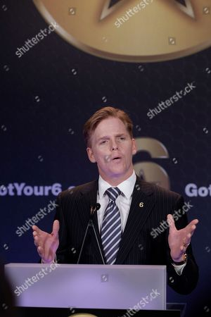 """Stock Image of Ned Vaughn In this image taken, EVP SAG-AFTRA, Ned Vaughn, speaks at the """"Got Your 6,"""" initiative announcement at the SAG-AFTRA headquarters in Los Angeles. Hollywood entertainment studios, television networks, talent agencies and guilds announce their program: """"Got Your 6,"""" a collective action initiative dedicated to creating opportunities for American veterans in six categories: jobs, education, housing, health, family and leadership"""