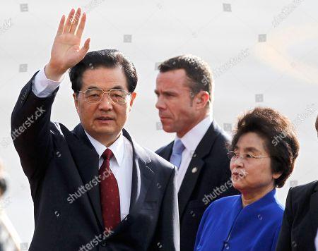 Hu Jintao Chinese President Hu Jintao and wife Liu Yongqing, arrive at Joint Base Pearl Harbor-Hickam for the APEC Summit, in Honolulu