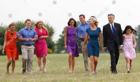 Jon Huntsman Former Utah Gov. Jon Huntsman, walks with his wife, Mary Kaye, respectively second and third from right, and their seven children at Liberty State Park in Jersey City, N.J., before announcing his bid for the 2012 Republican presidential nomination. Huntsman was expected to be a force in the 2012 race long before he officially joined it. Handsome and well-spoken, the 51-year-old California native offered a unique set of qualifications as a former GOP governor with experience working under presidents of both parties. From left are children Liddy Huntsman, Willliam Huntsman, Mary Anne Huntsman, Abby Huntsman Livingston, Jon Huntsman III, and Gracie Mei Huntsman, right. Youngest adopted daughter, Asha Bharati Huntsman, is partially visible behind her mother