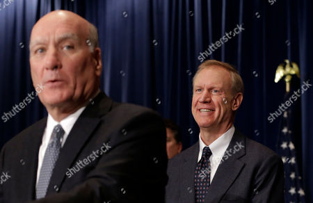 Bill Daley, Bruce Rauner Illinois governor-elect Bruce Rauner, right, smiles as Bill Daley, former chief of staff to President Barack Obama, talks to reporters after he was named to Rauner's transition team, during a news conference, in Chicago