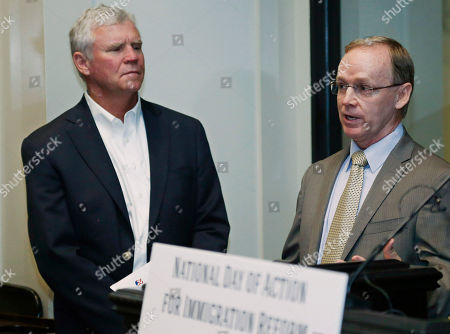 Stock Image of Craig Parker, Robert Ross Craig Parker, right, Executive Vice President of Silver Star Construction, answers a question during a news conference on immigration reform in Oklahoma City, as Robert Ross, left, owner of Interurban Restaurants looks on. Some former Republican leaders in Oklahoma are joining a coalition of business and manufacturing officials in the state urging Congress to pass immigration reform that includes a path to citizenship for immigrants who are in the country without legal permission