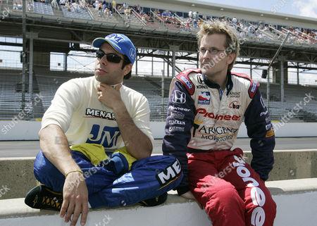 MEIRA BRACK Teammates Vitor Meira of Brazil, left, and former Indy 500 winner Kenny Brack of Sweden talk after Carburetion Day practice at Indianapolis Motor Speedway on . Both drive for the Rahal-Letterman team