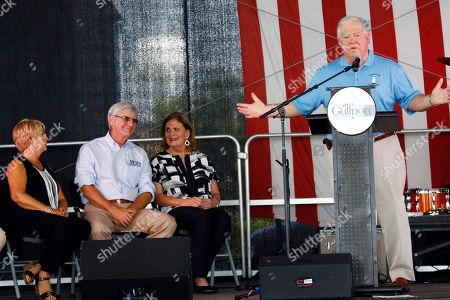 Haley Barbour, Marsha Barbour, Phil Bryant, Deborah Bryant Former Mississippi Gov. Haley Barbour, right, recounts the difficult days on the Gulf Coast following Hurricane Katrina at a First Responders Remembrance salute, in Gulfport, Miss. Barbour's wife, Marsha, second from right, and current Gov. Phil Bryant and his wife, Deborah, listen