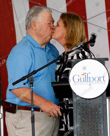 Marsha Barbour, Haley Barbour Former Mississippi first lady Marsha Barbour kisses her husband after she praised the first responders on the Gulf Coast following Hurricane Katrina at a First Responders Remembrance, in Gulfport, Miss