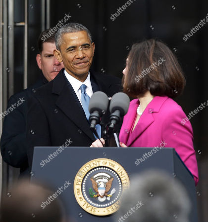 Barack Obama, Victoria Reggie Kennedy President Barack Obama greets Victoria Reggie Kennedy as Obama steps to the podium to speak during the dedication of the Edward M. Kennedy Institute for the United States Senate, in Boston