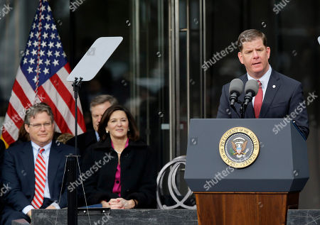 Marty Walsh, Ted Kennedy, Jr., Victoria Reggie Kennedy Boston Mayor Marty Walsh speaks during the dedication of the Edward M. Kennedy Institute for the United States Senate, in Boston. Connecticut state Sen. Ted Kennedy, Jr., son of Edward M. Kennedy, left, and Victoria Reggie Kennedy, Kennedy's widow look on