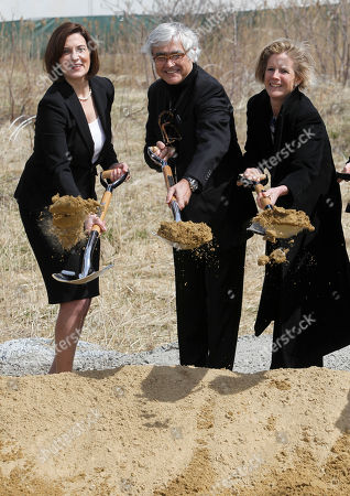 Victoria Reggie Kennedy, Rafael Vinoly, Kara Kennedy Victoria Reggie Kennedy, widow of Sen. Edward M. Kennedy, left, Architect Rafael Vinoly, center, and Kara Kennedy, daughter of the late Senator, right, shovel dirt during groundbreaking ceremonies for the new Edward M. Kennedy Institute for the United States Senate, in Boston, . Friday's ceremony was held on a site next to the John F. Kennedy Library and Museum