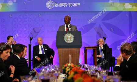 Keith Rowley, Joe Biden, Ernest Moniz Trinidad and Tobago Prime Minister Keith Rowley, flanked by Vice President Joe Biden, left, and Energy Secretary Ernest Moniz, speaks during the plenary lunch of the U.S. Caribbean-Central American Energy Summit at the State Department n Washington