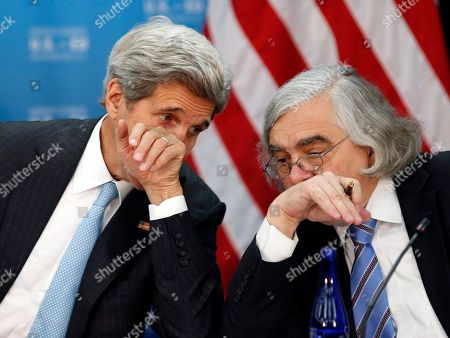 John Kerry, Ernest Moniz Secretary of State John Kerry, left, speaks with Secretary of Energy Ernest Moniz during the seventh U.S. - E.U. Energy Security Council meeting, during the U.S. Caribbean-Central American Energy Summit at the State Department, in Washington