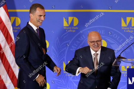 King Felipe VI of Spain Miami Dade College President Dr. Eduardo Padron, right, and King Felipe VI of Spain, left, have a light moment after Felipe was honored with the MDC medal, before delivering the inaugural Master Lecture for the official Opening of the Miami Dade College 2015-16 Academic Year, during a ceremony at The Freedom Tower, in Miami