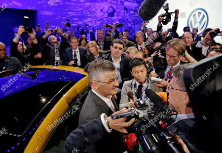 Michael Horn, President and CEO of Volkswagen Group of America talks to the media at the Los Angeles Auto Show, in Los Angeles