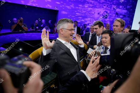 Michael Horn, President and CEO of Volkswagen Group of America talks to the media at the Los Angeles Auto Show on in Los Angeles