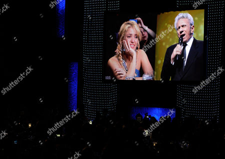 Shakira, William Mebarak Chadid Shakira, left, and her father William Mebarak Chadid, are seen onscreen at the Latin Recording Academy Person of the Year tribute in her honor on in Las Vegas