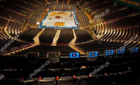 """The upper bowl seating at Madison Square Garden includes digital monitors as the arena undergoes restoration on in New York. Hank Ratner, president and CEO of The Madison Square Garden Company, lead a tour of the Garden's ungoing """"comprehensive top to bottom transformation,"""" unveiling the first stage in the arena's $850 million restoration"""