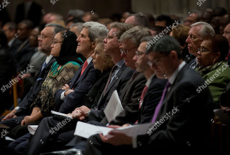 John Kerry, Teresa Heinz Kerry, Ebrahim Rasool, Rosieda Shabodien, Rand Beers, Jack Lew, Shaun Donovan, Dan M. Tangherlini Secretary of State John Kerry, center, and his wife Teresa Heinz Kerry sit in the first row with from left to right, South African Ambassador to the US Ebrahim Rasool, and his wife Rosieda Shabodien, Secretary of Housing and Urban Development Shaun Donovan, Acting Dir. of Homeland Security Rand Beers, Administrator of GSA Dan M. Tangherlini, and Secretary of the Treasury Jack Lew, at the memorial service for Nelson Mandela at the National Cathedral in Washington, . Vice President Joe Biden and the presiding bishop of the Episcopal Church, the Rev. Katharine Jefferts Schori, lead a national service for Mandela, held in conjunction with the South African Embassy, and features a host of dignitaries, elected officials, and civil rights leaders