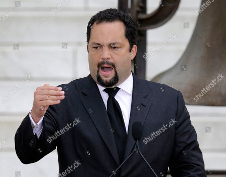 """Stock Image of Benjamin Jealous NAACP President and CEO Benjamin Jealous speaks at the Let Freedom Ring ceremony at the Lincoln Memorial in Washington, to commemorate the 50th anniversary of the 1963 March on Washington for Jobs and Freedom. It was 50 years ago today when Martin Luther King Jr. delivered his """"I Have a Dream"""" speech from the steps of the memorial"""