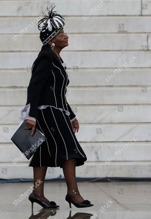 """Christine King Farris, sister of Martin Luther King, Jr., walks back to her seat after speak at the Let Freedom Ring ceremony at the Lincoln Memorial, in Washington, to commemorate the 50th anniversary of the 1963 March on Washington for Jobs and Freedom. It was 50 years ago today when Martin Luther King Jr. delivered his """"I Have a Dream"""" speech from the steps of the memorial"""