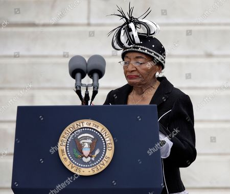 """Christine King Farris, sister of Martin Luther King Jr., arrives to speak at the Let Freedom Ring ceremony at the Lincoln Memorial, in Washington, to commemorate the 50th anniversary of the 1963 March on Washington for Jobs and Freedom. It was 50 years ago today when Martin Luther King Jr. delivered his """"I Have a Dream"""" speech from the steps of the memorial"""