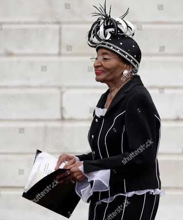 """Christine King Farris, sister of Martin Luther King Jr., speaks at the Let Freedom Ring ceremony at the Lincoln Memorial, in Washington, to commemorate the 50th anniversary of the 1963 March on Washington for Jobs and Freedom. It was 50 years ago today when Martin Luther King Jr. delivered his """"I Have a Dream"""" speech from the steps of the memorial"""