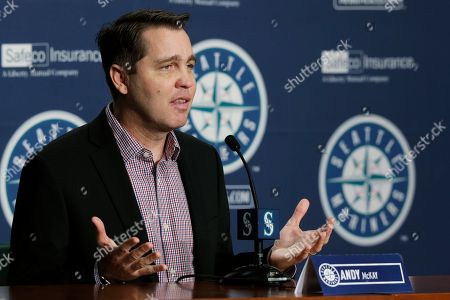 Stock Photo of Andy McKay Andy McKay, Seattle Mariners director of player development, talks to reporters, in Seattle during the team's annual briefing before the start of baseball spring training
