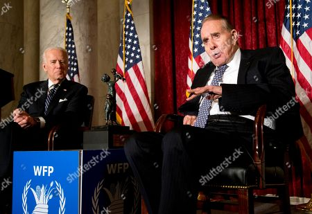 Joe Biden, Bob Dole Former Senate Majority Leader Bob Dole, right, speaks after being presented with the McGovern-Dole Leadership Award by Vice President Joe Biden, left, to honor his leadership in the fight against hunger, during the 12th Annual George McGovern Leadership Award Ceremony hosted by World Food Program USA, on Capitol Hill in Washington, . This year, the award was renamed McGovern-Dole Leadership Award, to honor their pioneering efforts to feed the hungry both in the United States and around the world