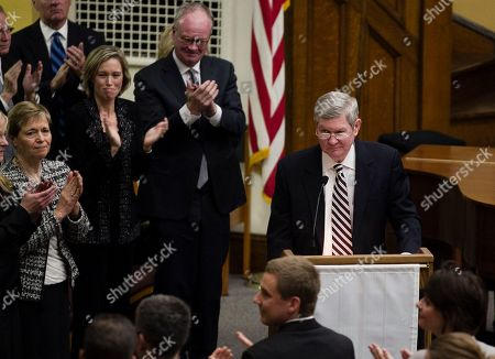 Tim Johnson Sen. Tim Johnson, D-S.D., receives a standing ovation while speaking at a prayer service for former Democratic U.S. senator and three-time presidential candidate George McGovern at the First United Methodist Church in Sioux Falls, S.D., . McGovern died Sunday in his native South Dakota at age 90