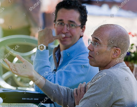 Rob Wiesenthal, Jeffrey Katzenberg Rob Wiesenthal, executive vice president and CFO of Sony Corp, rear, and Jeffrey Katzenberg, CEO of DreamWorks Animation, hold discussions during lunch at the annual Allen & Co.'s media summit in Sun Valley, Idaho