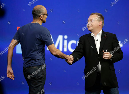 Stock Image of Satya Nadella, Stephen Elop Microsoft CEO Satya Nadella, left, is greeted by Stephen Elop, right, executive vice president of Nokia, during the keynote address of the Build Conference, in San Francisco. Microsoft kicked off its annual conference for software developers, with new updates to the Windows 8 operating system and upcoming features for Windows Phone and Xbox