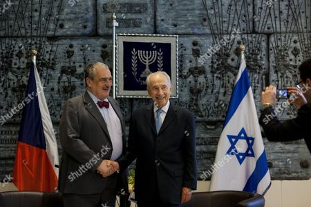 Shimon Peres, Karel Schwarzenberg Israel's President Shimon Peres, right, shakes hands with Czech foreign minister Karel Schwarzenberg, during their meeting at the president's residence in Jerusalem, . Schwarzenberg is on a visit to the region