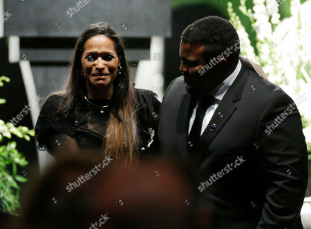 Stock Image of Muhammad Ali's daughter Rasheda Ali-Walsh cries after speaking during his memorial service, in Louisville, Ky