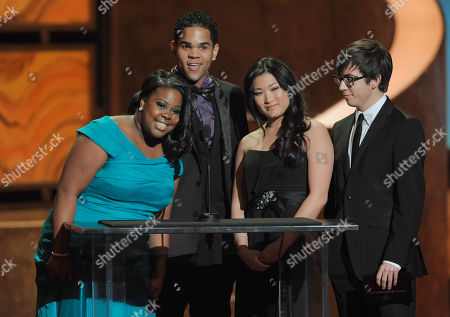 Amber Riley, Dijon Talton,Jenna Ushkowitz, Kevin McHale The cast of Glee present an award at the 41st NAACP Image Awards, in Los Angeles. From left are, Amber Riley, Dijon Talton,Jenna Ushkowitz, and Kevin McHale
