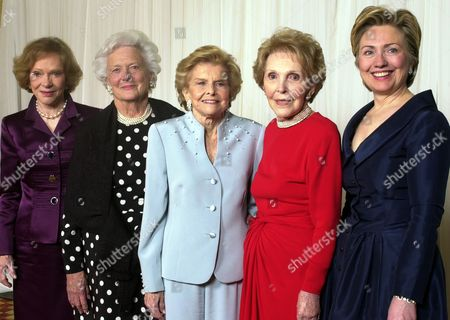 Rosalynn Carter, Barbara Bush, Betty Ford, Nancy Reagan, Hillary Rodham Clinton Former first ladies get together for a group photo at a gala 20th anniversary fundraising event saluting Betty Ford and the Betty Ford Center in Indian Wells, Calif. From left are Rosalynn Carter, Barbara Bush, Betty Ford, Nancy Reagan and Sen. Hillary Rodham Clinton. Former first lady Nancy Reagan, whose funeral service scheduled for, was planned down to the smallest details by the former first lady herself. Scheduled to attend are former president George W. Bush and his wife Laura Bush, former first ladies Rosalynn Carter and Sen. Hillary Clinton, and first lady Michelle Obama