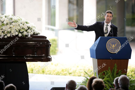 Stock Picture of Ron Reagan Ron Reagan, son of late former President Ronald Reagan and Nancy Reagan speaks during the funeral service for the former First Lady at the Ronald Reagan Presidential Library, in Simi Valley, Calif