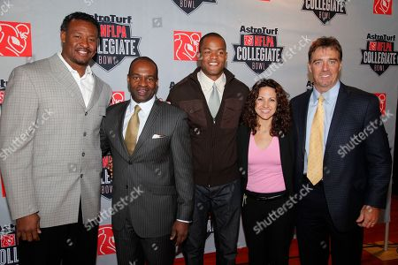 Stock Photo of Willie McGinest, DeMaurice Smith, Matthew Hatchette, Katie Pandolfo, Bryan Peeples DeMaurice Smith, second from left, executive director of the NFL Players Association, with NFL veteran Willie McGinest, far left, NFL veteran Matthew Hatchette, center, Home Depot Center GM Katie Pandolfo, and AstroTurf's Bryan Peeples, far right, after a news conference announcing the AstroTurf NFLPA Collegiate Bowl at the Depot Center in Carson Calif., on