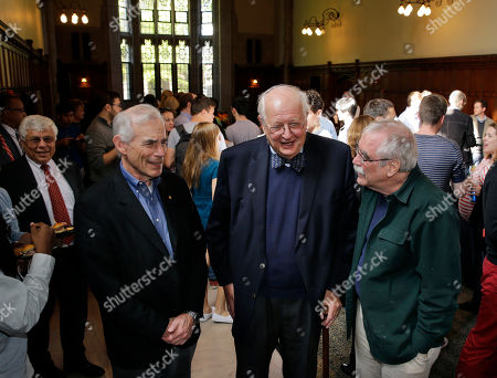 Stock Image of Angus Deaton, Christopher Albert Sims, Eric Francis Wieschaus Angus Deaton, center, stands at a reception with fellow Nobel winners, Christopher Albert Sims, left, and Eric Francis Wieschaus during a reception at Princeton University after it was announced that he won the Nobel prize in Economics, in Princeton, N.J. Deaton, 69, won the 8 million Swedish kronor (about $975,000) prize from the Royal Swedish Academy of Sciences