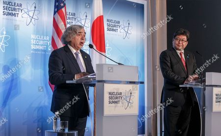 Ernest Moniz, Koichi Hagiuda Energy Secretary Ernest Moniz, left, and Japan's Deputy Chief Cabinet Secretary Koichi Hagiuda give joint statements to reporters after meetings at the Nuclear Security Summit in Washington